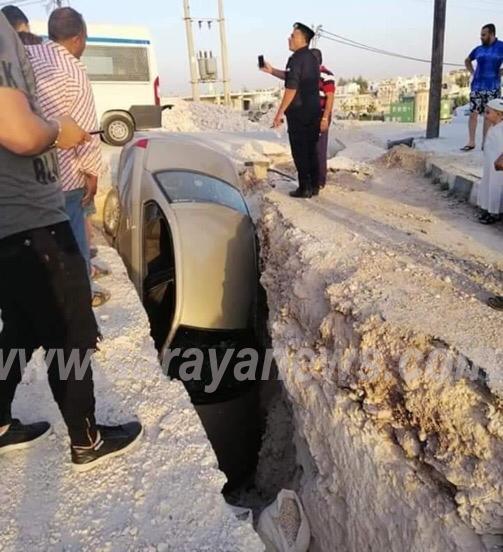 بالصور ..  اربد : اصابتان اثر سقوط مركبة في حفرة بالرمثا