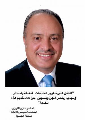 المرشح لعضوية مجلس امانة عمان المحامي غازي عيد اللوزي