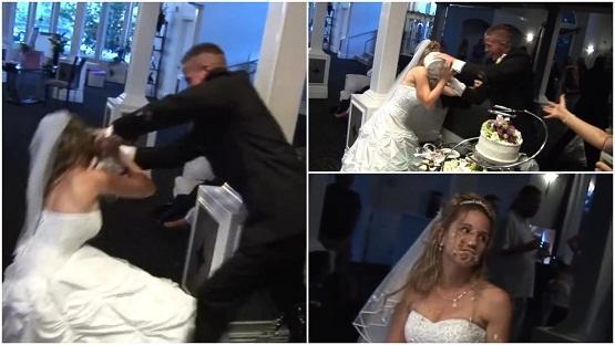 بالفيديو ..  عروسان يتراشقان بالكيك في حفل زفافهما