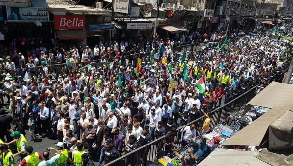 """مسيرة حاشدة بعمّان رفضا لـ""""صفقة القرن"""" و""""اتفاقية الغاز"""""""