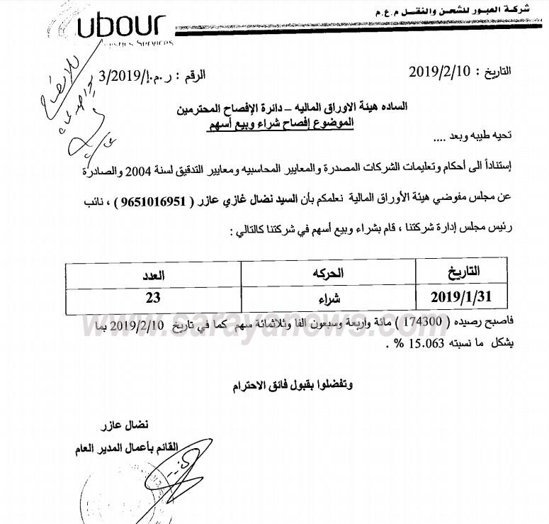 """نضال عازر يشتري (23) سهما من شركة العبور للشحن والنقل  ..  """"وثيقة"""""""