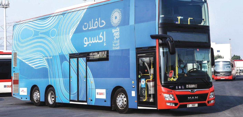 طرق دبي توفر تنقلا مجانيا بالحافلات لزوار إكسبو2020