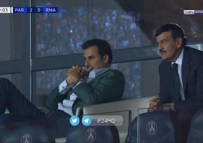 بالفيديو ..  أمير قطر يخطف الأنظار في موقعة ريال مدريد وسان جيرمان
