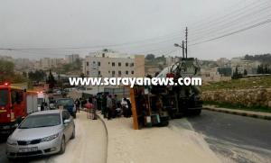 عمان: اصابتان وتصادم 5 مركبات بسبب تدهور قلاب في صويلح