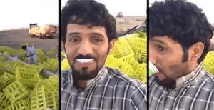 فيديو: شاب يُصوِّر نفسه أثناء سرقة حمولة زبادي مقلوبة