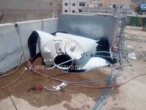 بالفيديو والصور  ..  انفجار خزان مياه بسبب ارتفاع درجات الحرارة في محافظة العقبة