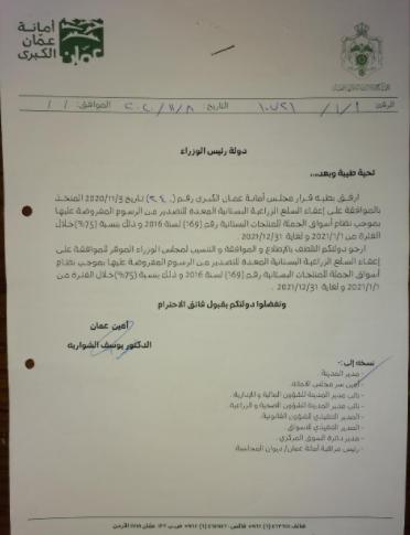 النائب العلاقمة: وزير الزراعة يتابع مواضيع القطاع و استمرار اعفاء السلع البستانية  ..  وثيقة