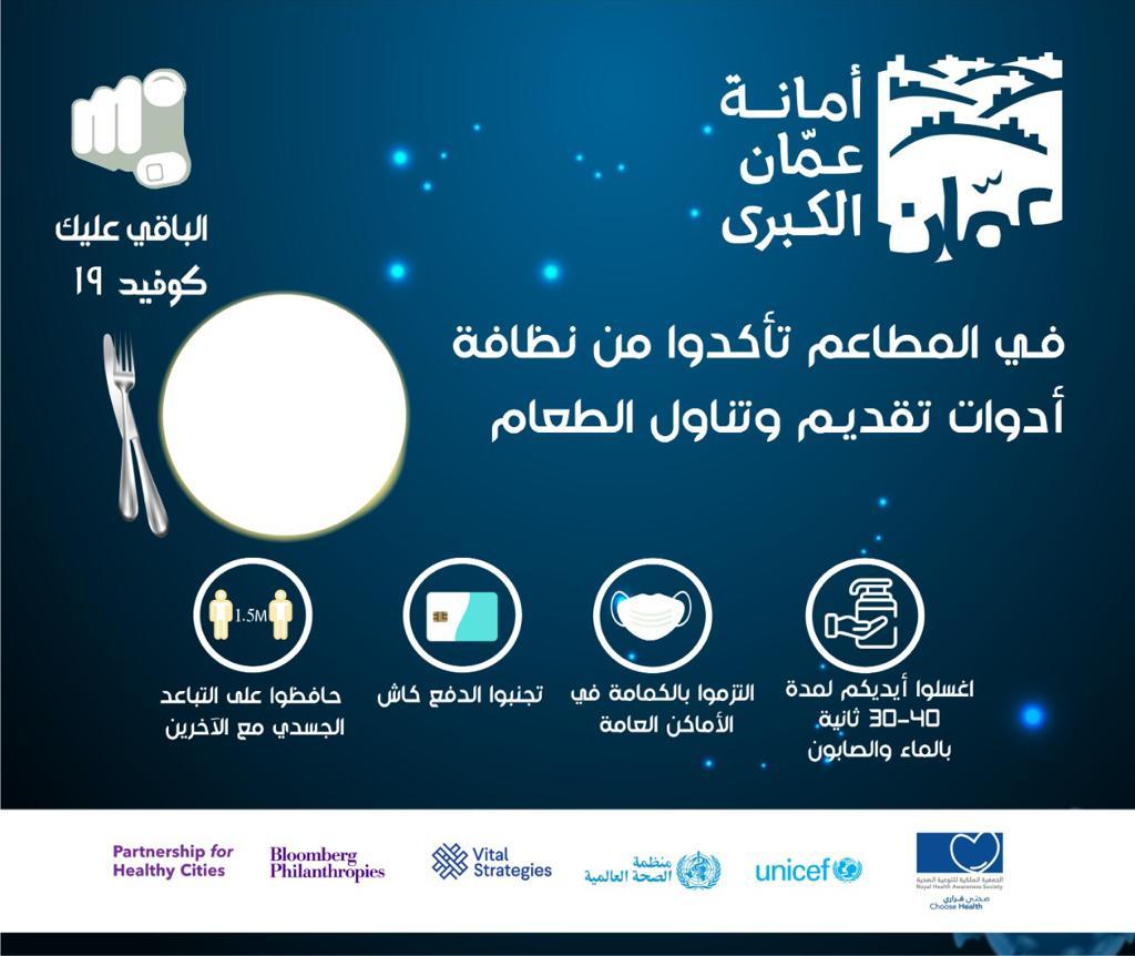 أمانة عمان تطلق حملة للتوعية بفيروس كورونا تحت شعار (لصحتك  ..  تذكر و لا تستهين والباقي عليك)  ..  صور