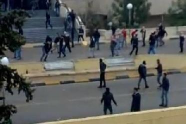 اعمال شغب امام مدرسة ام جوزة على خلفية امتحان توجيهي