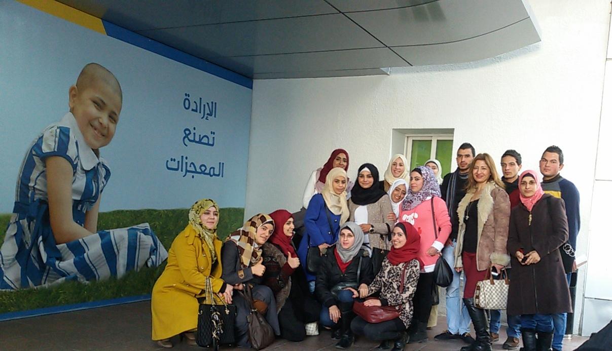 طلبة فيلادلفيا يزورون مركز الحسين للسرطان