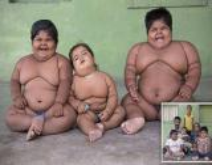 بالصور: عائلة هندية تضم 3 من أضخم الأطفال في العالم