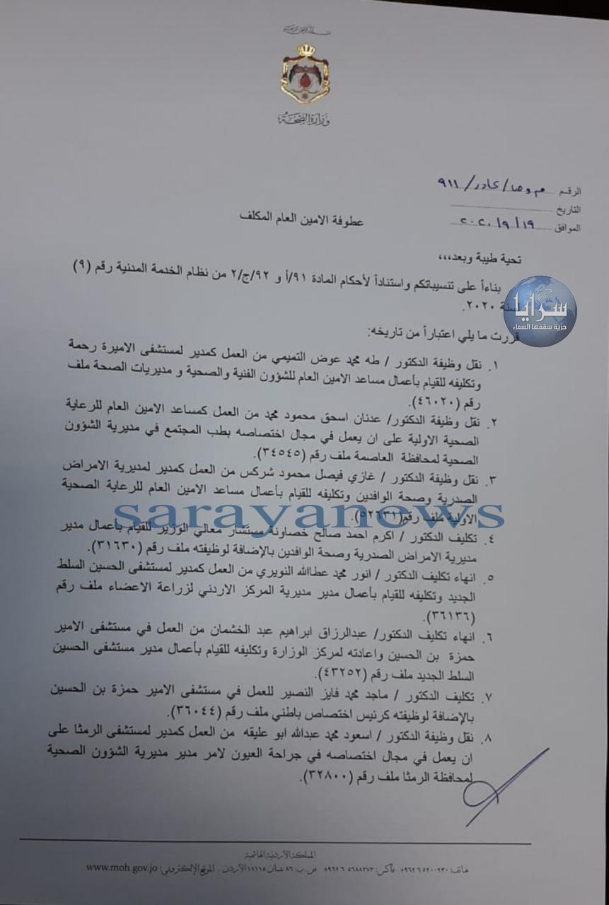 اعفاء مسؤول ملف كورونا من منصبه ونقل مدير مستشفى حمزه وتنقلات واسعه في الصحه
