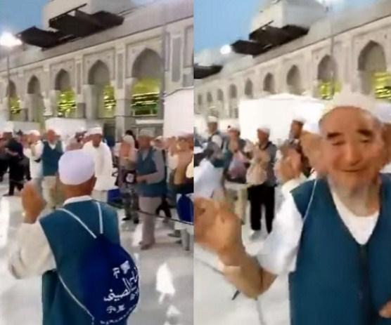 بالفيديو  ..  مشهد مؤثر  : حجاج يودعون بيت الله الحرام بالبكاء دون أن يديروا ظهورهم