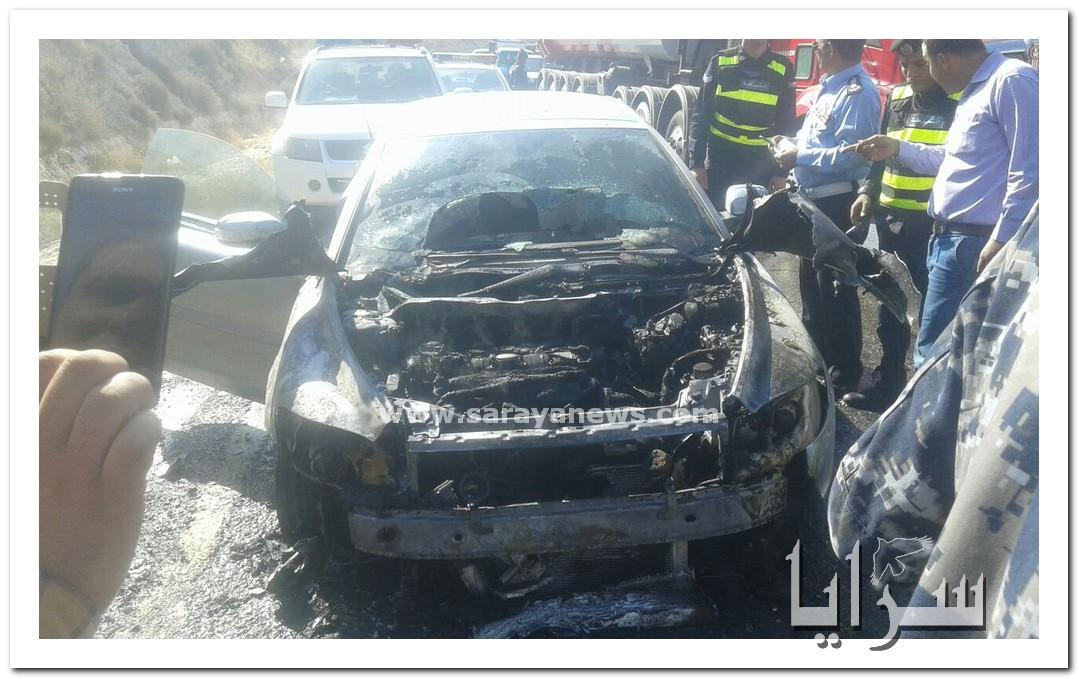 بالفيديو والصور .. احتراق مركبة على طريق إربد - عمان