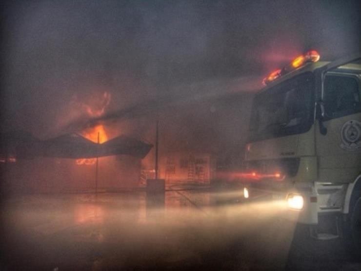 حريق بساحة قطار الحرمين بالسعودية والدفاع المدني يحاول إخماده .. فيديو