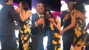 بالفيديو: نادين الراسي و وائل كفوري يثيران الجدل على المسرح  ..  تفاصيل