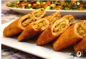لفائف الخبز السورى بالدجاج والجبن