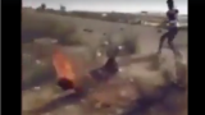 """بالفيديو.. قبيلة مصرية تحرق """"داعشي"""" و هو حي و يهددون البقية بنفس المصير"""