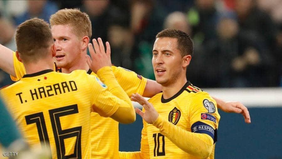 """هازارد وشقيقه يتألقان ويضمنان """"الصدارة"""" لبلجيكا"""