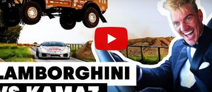 """""""بالفيديو"""" شاحنة ضخمة تقفز من أعلى لامبورجيني هوراكان"""