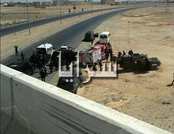 """بالصور.. إصابة 8 دركيين  بتدهور مدرعة """"جواد"""" عن جسر معان"""
