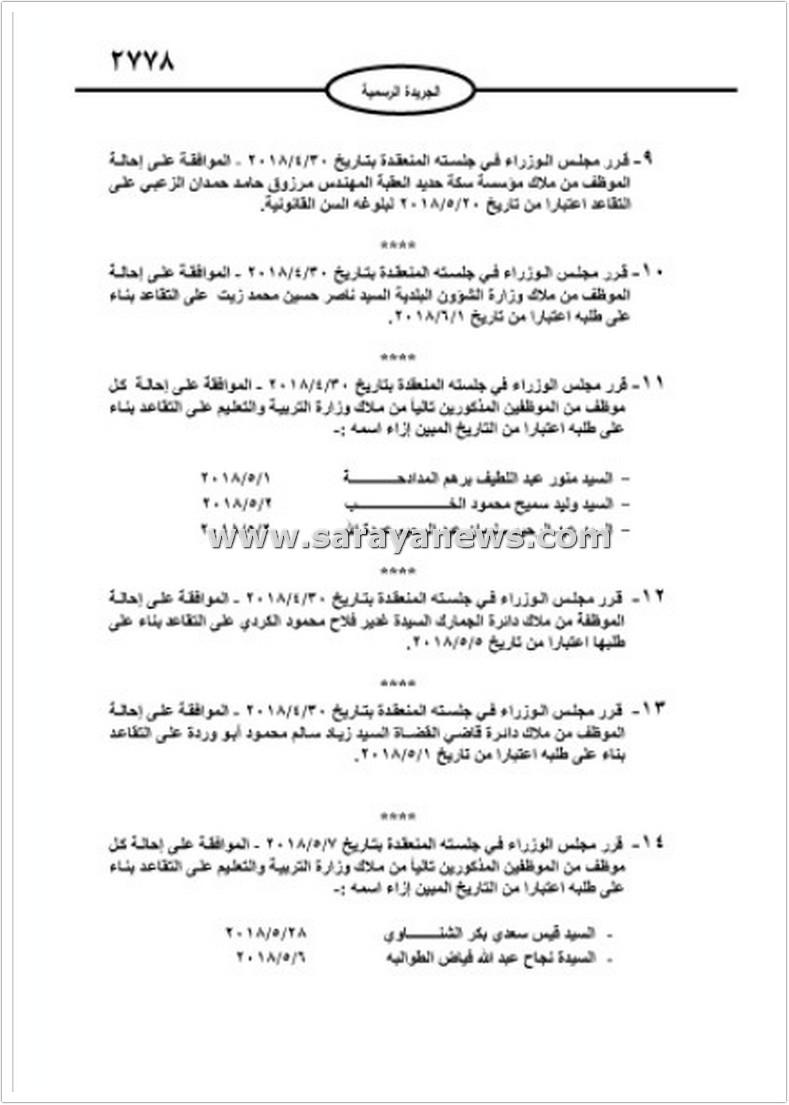 بالاسماء  ..  إحالات للتقاعد بين عدد من موظفي المؤسسات و المديريات و الدوائر الحكومية