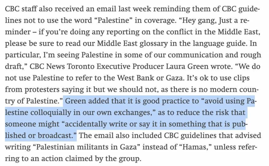 """شبكة إعلامية كندية تطلب من محرريها عدم استخدام مصطلح """"فلسطين"""" حتى لو بشكل شخصي"""