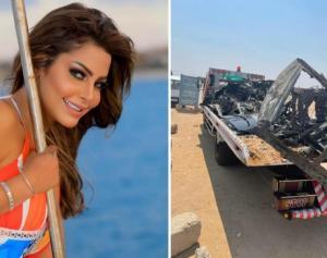 """شاهد ..  فنانة مصرية شهيرة تتعرض لحادث مروع ..  وتعلق: """"أنا بموت"""""""