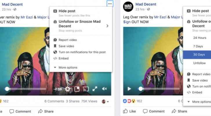 فيس بوك تختبر إمكانية 'كتم' الأصدقاء والصفحات والمجموعات مؤقتا