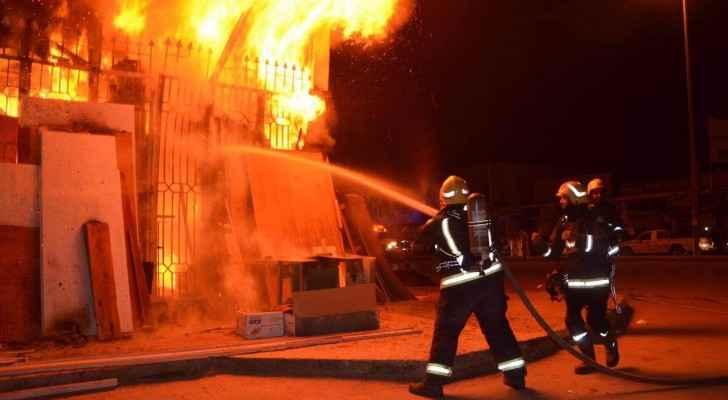 إصابة ٥ أشخاص اثر حريق منزل في البقعة