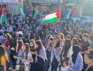 بالصور  ..  عشرات الآلاف من فلسطينيي الـ48 يتظاهرون في سخنين تنديدا بالعدوان الإسرائيلي على غزة