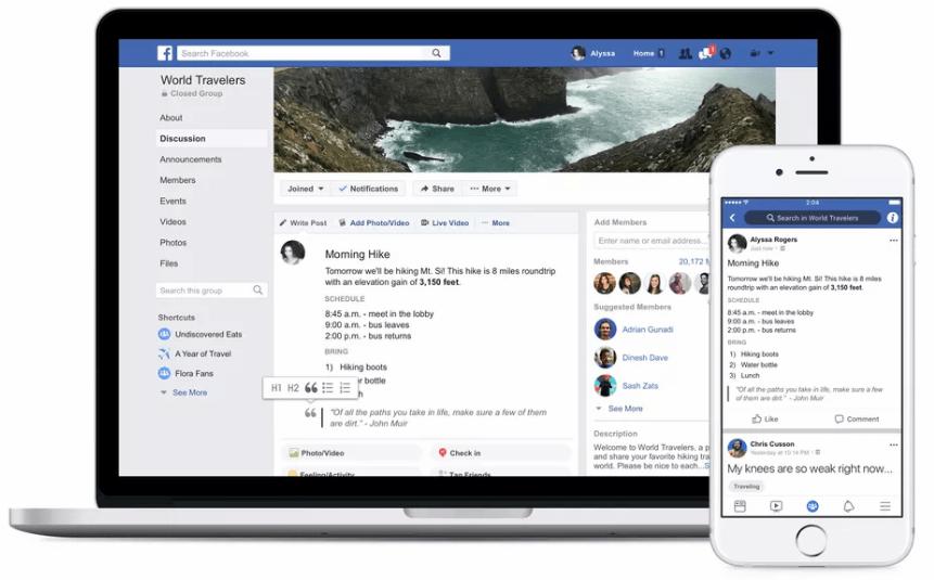 فيس بوك تتيح إضافة التنسيقات لمنشورات المجموعات