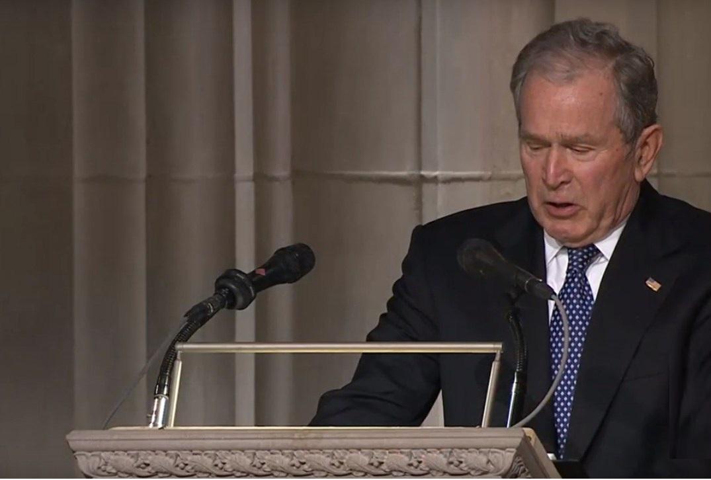 بالفيديو ..  بوش يجهش بالبكاء خلال مراسم جنازة والده
