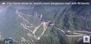 بالفيديو: سائق يحقق رقماً قياسياً على أخطر طريق في العالم