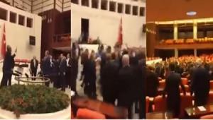 بالفيديو...مشاجرة باللكمات في البرلمان التركي