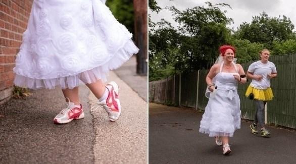تجري بثوب الزفاف 5 كيلومتر لصالح الأعمال الخيرية