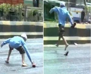 شاهد بالفيديو.. ذوبان احد الشوارع بالهند نتيجة ارتفاع الحرارة