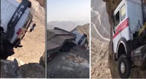 فيديو لا يصدق لشاحنة معلقة بالهواء فوق واد سحيق