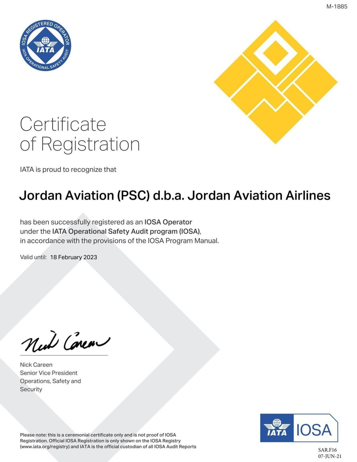 الأردنية للطيران تحصل على شهادة برنامج الأيوسا للمرة الثامنة