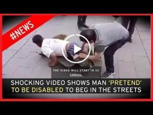 بالفيديو.. تظاهر بأنّه مبتور الساقين ليتسوّل... وهكذا فضحوه!