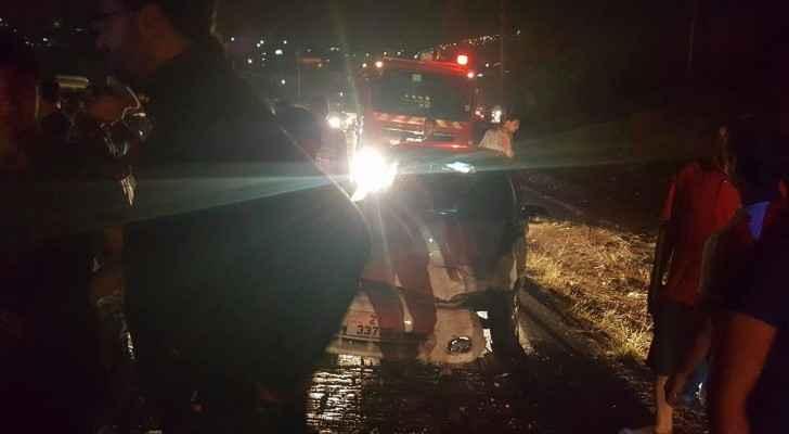 اصابة ٤ أشخاص بحادث تصادم بين مركبين في جرش