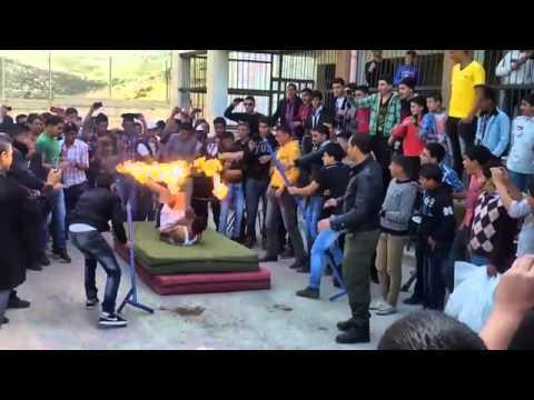 شاهد بالفيديو  ..  إحتراق طالب في مدرسة عوريف جنوب نابلس