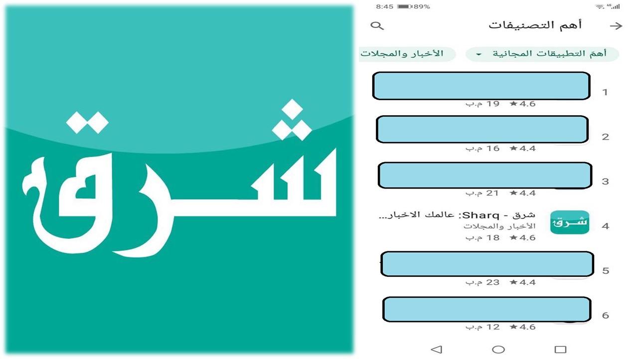 """""""تطبيق شرق"""" يحتل المركز الرابع بالأكثر بحثاً على Google play في الشرق الأوسط"""