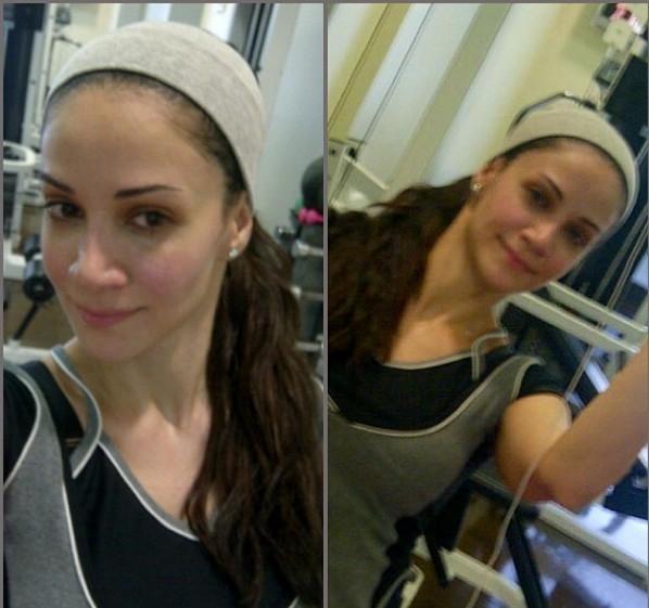 صور ديانا حداد بلا مكياج أثناء ممارستها الرياضة حيث احمرتا وجنتيها 2014