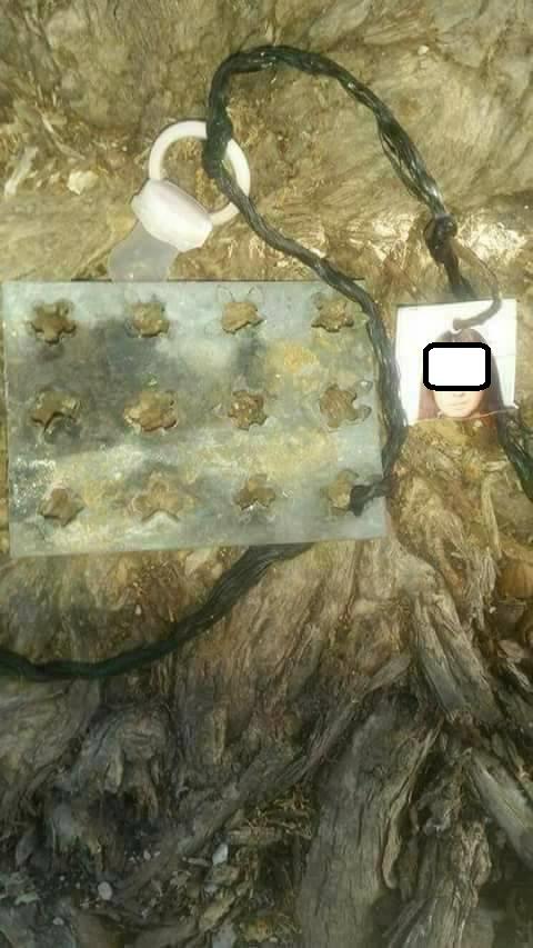 """العثور على """"سحر"""" معلقاً على شجرة لمنع اردنية من الانجاب ..  صورة"""