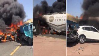 حادث مروري مروع واندلاع حريق بعدد من المركبات بالكويت (فيديو)
