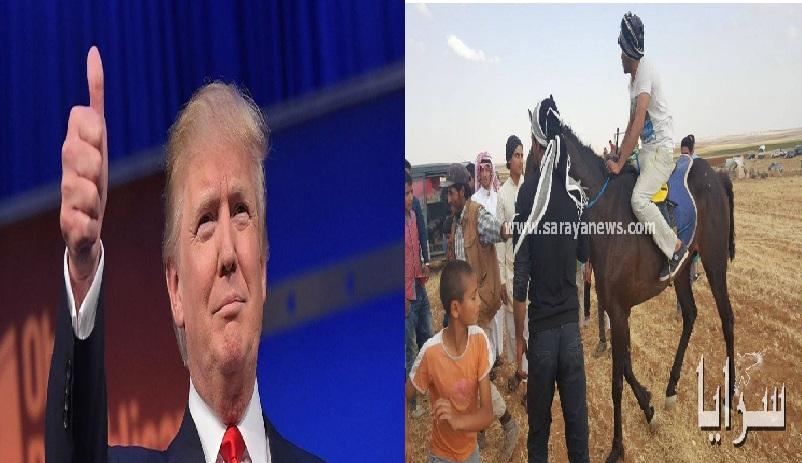 """بالصور.. اردني يُطلق اسم """"ترامب"""" على حصانه في القطرانة"""