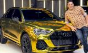 حمو بيكا ينشر صوره لسيارته الذهبية عيار 24