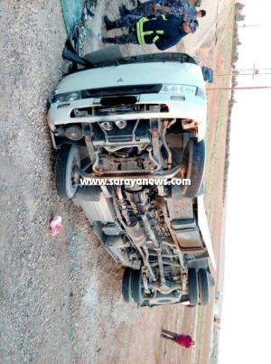 بالصور ..  المفرق : اصابة 13 شخص بتصادم حافلة وصهريج مياه