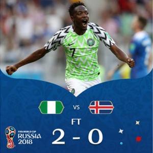 بالفيديو ..  نيجيريا تعيد الامل لرفقاء ميسي بفوزها على ايسلندا